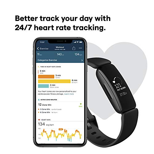Fitbit Inspire 2 Health & Fitness Tracker with a Free 1-Year Fitbit Premium Trial, 24/7 Heart Rate & up to 10 Days Battery , Black