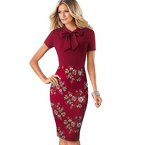 QUNLIANYI Abendkleid Abiballkleid Elegante Frauen Patchwork Bogen Slim Pencil Work Office Business Kleid V-Ausschnitt Kurzarm Kleid XXL Dunkelrot Blumen