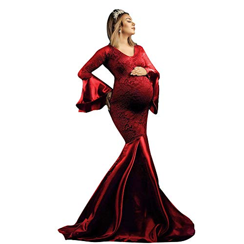 Maternity Elegant Fitted Gown V Neck Ruched Off Shoulder Floral Lace Long Sleeve Slim Fit Maxi Photography Pregnancy Dress for Photography Baby Shower Wedding Ruffle-Wine Red M