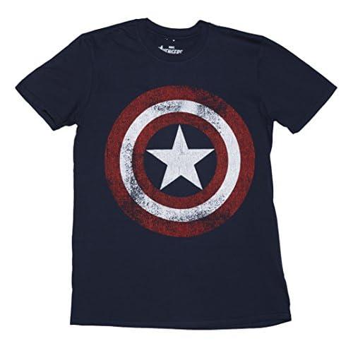 Distressed Navy Marvel Uomo Capitan America Shield Logo t Shirt