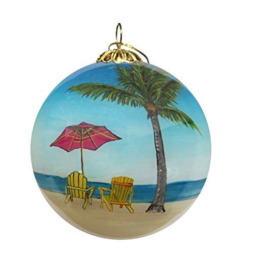 Art Studio Company Hand Painted Glass Christmas Ornament - Beach Chairs and Palm Trees Tamarindo, Costa Rica