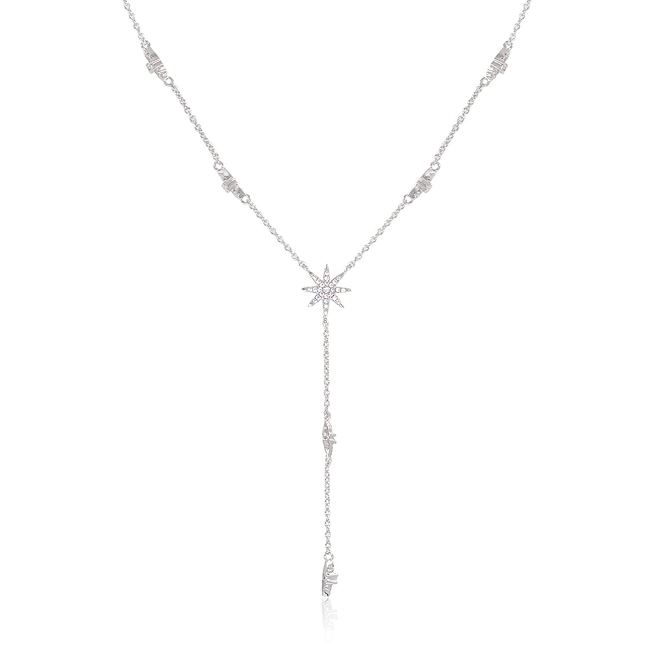 espere Star Drop Y Shaped Lariat Necklace Plated with 14K Rose Gold/White Gold
