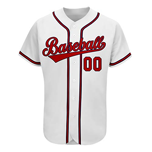 Custom Baseball Jerseys Embroidery,Men Women Kids Baseball Jersey Button Down with Team Name,Number (White Red 02, Men Size : 4XL)