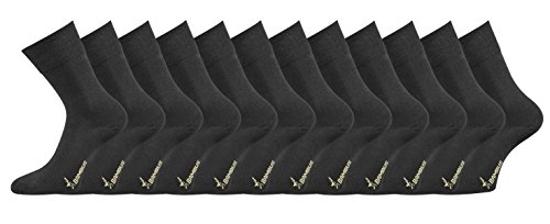 TippTexx24 Die etwas anderen Business Socken, 2, 4, 6, 8, 10 oder 12 Paar extra haltbare Bambussocken ganz ohne Gummi (43/46, Schwarz = 12 Paar)
