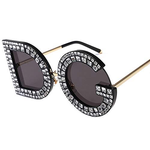 ZXYU Personalisierte Sonnenbrillen Letter Female Diamond Anti Glare Kunststoff Metallrahmen Täglicher Gebrauch,E