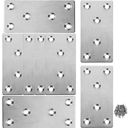 Flat Brackets Stainless Steel Straight Fixing Mending Plates,8Pcs 3.09x1.60x0.08 inches Mending Joining Plates Repair Fixing Bracket Connector for Shelves, Furniture and Cabinet, 6 Holes with Screws