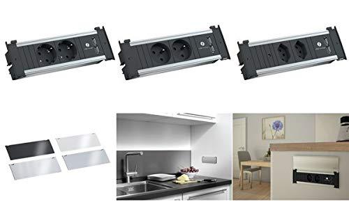 Bachmann KAPSA 927.051, 2x geaard stopcontact, 1x dubbele USB-oplader