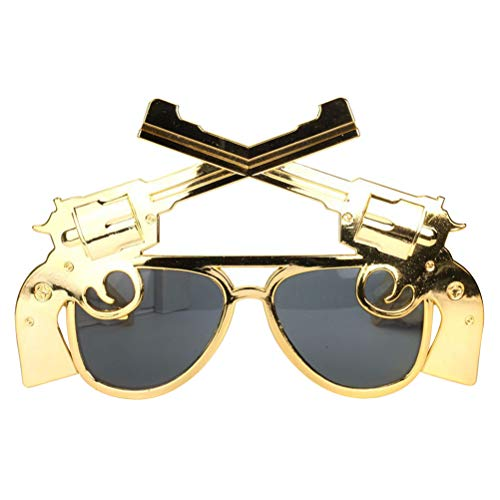 Amosfun - Gafas de Maquillaje para Fiesta de Baile con Forma de Pistola, anteojos, máscaras, Suministros para Fiestas (Doradas)