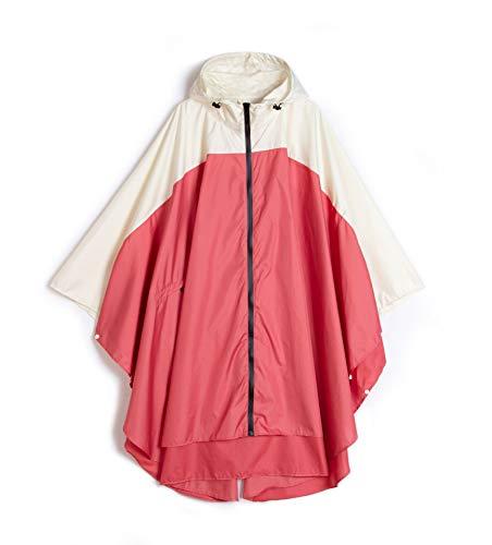 YUHANG Chubasquero para mujer, impermeable, poncho, reutilizable, ligero, para adultos, con capucha, actividades al aire libre, ropa de lluvia para senderismo, Blanco y rojo., large
