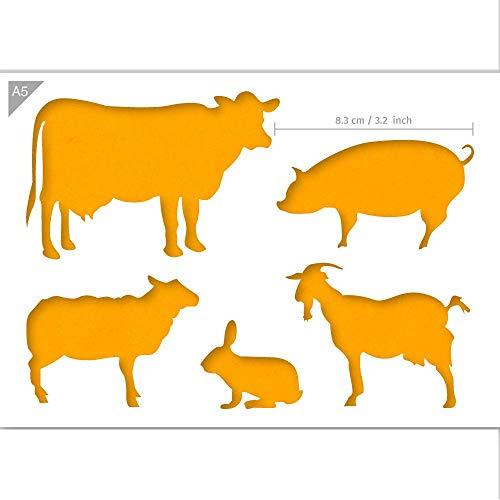 QBIX Nutztier-Vorlage - Kuh, Kaninchen, Schwein, Ziegen, Schaf - Größe A5 - Wiederverwendbare kinderfreundliche DIY-Schablone für Malen, Backen, Basteln, Wand, Möbel