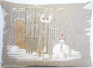 Weihnachten Kissenhüllen Schneemann Muster Winter Wunderland Kissenbezug Grau Zierkissen 40 x 30cm