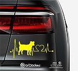 Artstickers Pegatinas para Coche con Forma de Perro Jack RUSELL Terrier, 20 cm, para Amantes de los Coches. Color Amarillo. Pegatina Perro latidos corazón. Regalo Adhesivo Spilarts, Marca Registrada