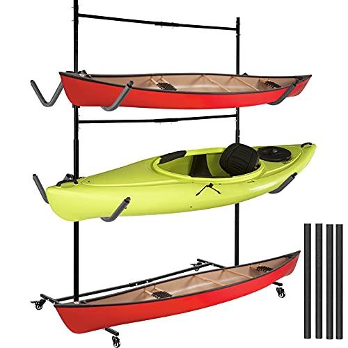 VEVOR Kayak Storage Freestanding Kayak Storage Rack, 300 LBS Load-Bearing Capacity Kayak Hanger for Indoor/Outdoor Use, 100 LBS Per Layer Paddle Board Rack, 3 Layers Kayak Storage Rack for 6 Canoes