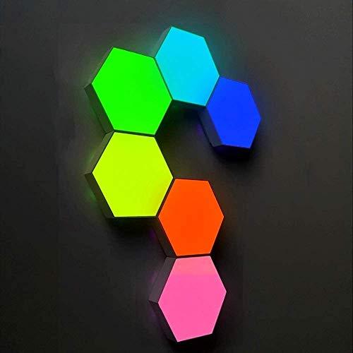 Inteligente de luz LED de empalme, la lámpara de pared hexagonal, paneles Rgb Un brillante inteligente del estado de ánimo de iluminación con control remoto para el interior, modular sensible,6pcs