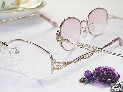 累進多焦点遠近両用老眼鏡(境目のない遠近両用メガネ) AW363 2色 7度数 (バイオレットハーフレンズ, +1.00)