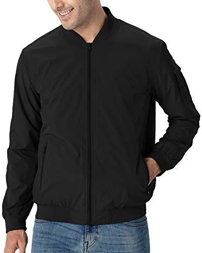 TBMPOY Men's Windproof Bomber Jackets Lightweight Running Breathable Windbreaker Outdoor Coat Black L
