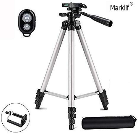 Marklif® Adjustable Aluminium Alloy Tripod Stand Holder for Mobile Phones, 360 mm -1050 mm, 1/4 inch Screw Mobile Holder Bracket...