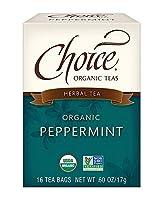 Choice Organic Teas カフェインフリーハーブティー、ペパーミント、16カウント、6パック