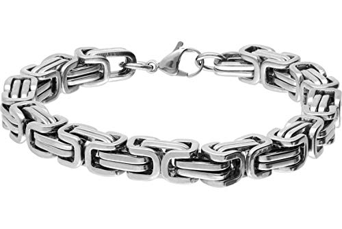FILANGO Edelstahl Königsarmband | silberfarben | Karabinerverschluss | Mode Schmuck Armband