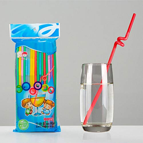 Fineday [300 Pack] Flexible Disposable Plastic Drinking Straws-Assorted Colors, Home DIY Decors Products HotSales