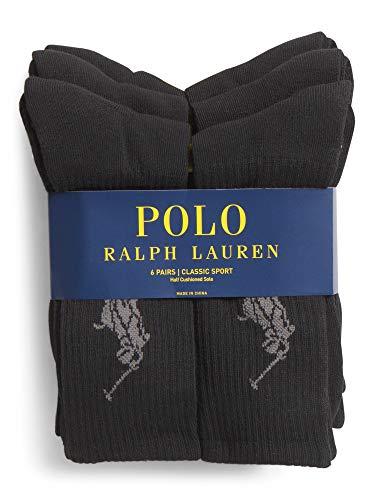 Polo Ralph Lauren - 6er-Pack Großer Polospieler Socken - Einheitsgröße (EU 39 - EU 45) - Schwarz
