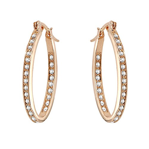 Yoursfs Large Hoop Earrings 18ct White Gold Plated Cubic Zirconia Dangle Earring for Women Fashion Jewellery Gift