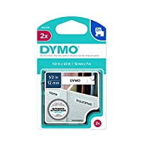 DYMO Standard D1 Self-Adhesive Polyester Tape for Label Makers, 1/2-inch, Black Print on White, 23-foot cartridge, (1926208) by DYMO