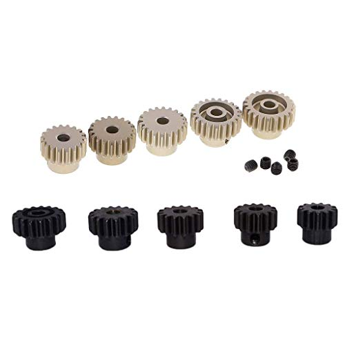 WY-YAN 10x 3,175 mm + 5mm Pinion Motor Gear Set for 1/8 RC Auto Brushed Brushless Motor