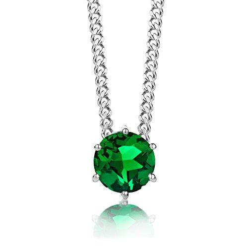 ByJoy Damen-Kette Mit Anhänger 925 Sterling- Silber Rundschliff Grün Smaragd 45cm