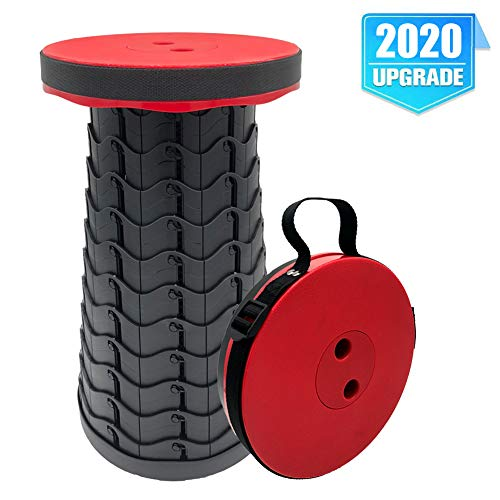 FIEMACH Tragbarer Klapphocker, Zweiten Generation Mini Teleskophocker Leichte Campinghocker für Outdoor Camping Angeln BBQ Drinnen Küche, Belastung 397 lb (2020 Upgrade) (Rot)