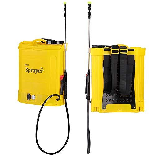 Nebulizzatore Pompa a Spalla a Batteria Ricaricabile capacità 16 LT con 3 ugelli Spruzzatori Asta Spray in Acciaio Inox e con Cintura da Spalla per Il Trasporto