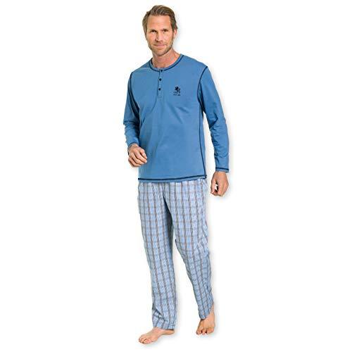 Otto Kern Herren Pyjama mit Langer Hose 100% Baumwolle I Kurzarm Shirt mit Knopfleiste I Hose mit Seitentaschen & Knopfleiste I Blau I Gr. 56 (2XL)
