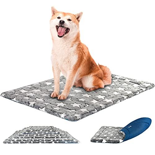 KROSER Almohadilla para Perros Colchoneta Reversible Colchón para Mascotas Elegante 91 cm Almohadilla de Esponja de Alta Densidad Lavable a Máquina Cama para Perros Grandes de hasta 32kg