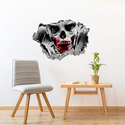2020 60x45cm 3d Ghost Scary Wall Stickers Removable Art Mural Party Decals Decor Halloween Decoration Horror Props Decor