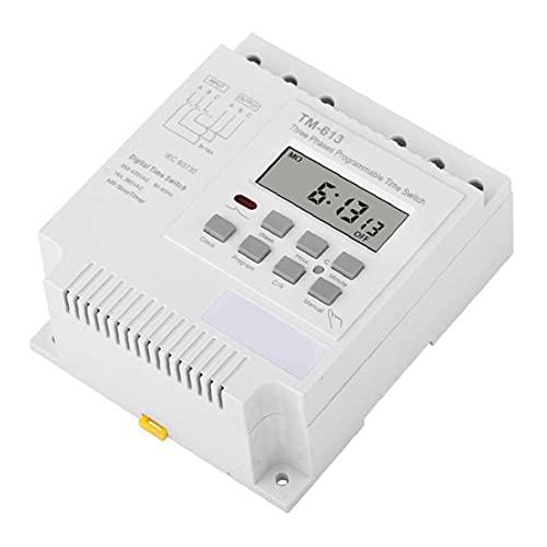 Interruptor del temporizador de retransmisión Controlador Inteligente TM613 380V cubierta impermeable trifásico programable con alambre conectores blancos, Switch
