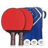 JIANGCJ bajo Precio. Paddle Ping Pong - 2 Pro Premium Table Tennis Raqueta, Raquetas y 3 Pelotas de Tenis de Mesa, Mejor Raqueta de Tenis de Mesa Profesional con Goma de Alto Rendimiento, Incl