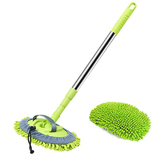 SSDM 2-In-1 Car Wash Mop Mitt Long Handle Chenille Microfiber Car Wash Dust Brush, Not Hurt Paint Scratch Free Cleaning Tool