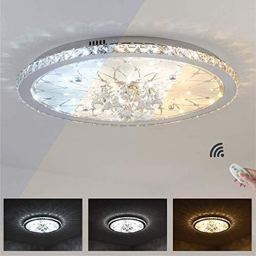 DENGDENG LED-Deckenleuchte Europäische Runde Kristall Deckenlampe, Dimmbar mit Fernbedienung, Deckenbeleuchtung für Wohnzimmer, Schlafzimmer, Lobby, Hotel (Ø68cm-60Watt) [Energieklasse A++]