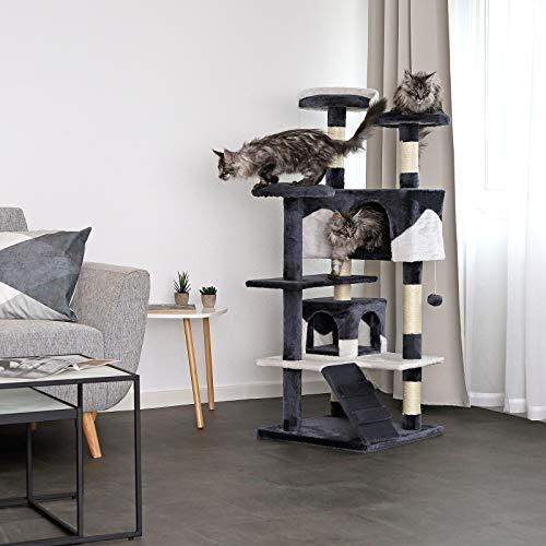 Katzenkratzbaum, Kratzbaum für Katzen 130 cm Höhe (grau / weiß) - 2