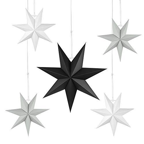 Faltstern Weihnachten, 7 Zacken Stern zum Aufhängen, Papier Stern Dekoration 5er Set Faltsterne Weihnachtsstern Deko, Sterne Papier zum Fenster Dekoration, Weihnachtsbaum, Advent