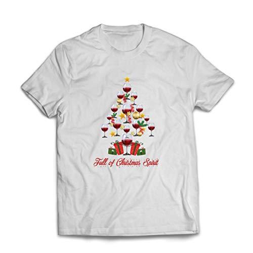 lepni.me Camisetas Hombre Lleno de espíritu navideño Vino Jolly Animación navideña (XXX-Large Blanco Multicolor)