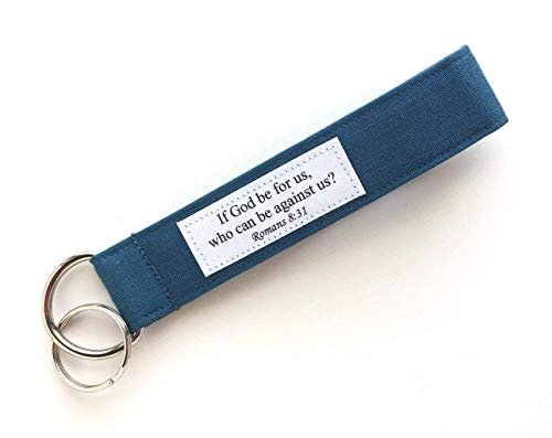 Keychain Wristlet - Fabric Key Lanyard with Bible Verse - If God be For Us - Romans 8:31