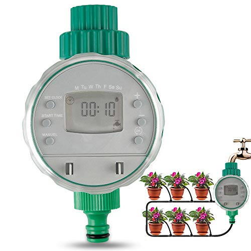 infinitoo Digitaler Wasser Timer, Automatische Bewässerungsuhr IP68 Wasserdichter mit Bewässerungsprogramme & LCD Display, Wasser Zeitschaltuhr für Garten Gewächshaus Landwirtschaft usw