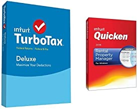 TurboTax Deluxe 2015 Federal + Fed Efile Tax Preparation Software PC/Mac Disc with Quicken Rental Property Manager 2016 PC Disc