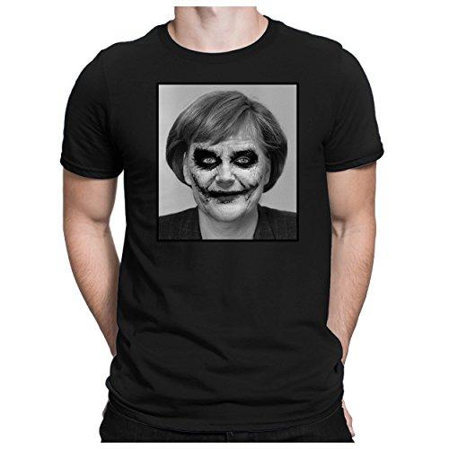 PAPAYANA - Joker Angela - Herren Fun T-Shirt Bedruckt - Merkel - XL Schwarz