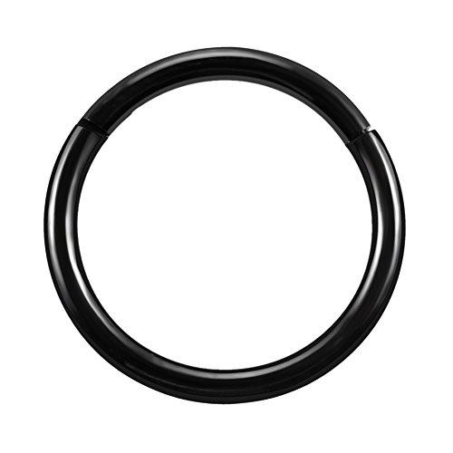 PPuujia 1 juego de anillos de nariz con bisagras de titanio para cartílago y tragus en espiral, perforaciones de labios, joyería de moda unisex (color metálico: negro)