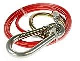 BITS4REASONS - Cable de Seguridad para Caravana (nuevo Modelo Maypole MP501B, PVC, 1 m x 3 mm), Color Rojo