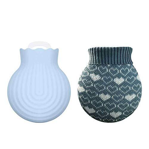 GGsheng Wärmflaschentasche aus Silikon mit Strickbezug, für heiße und kalte Mikrowelle