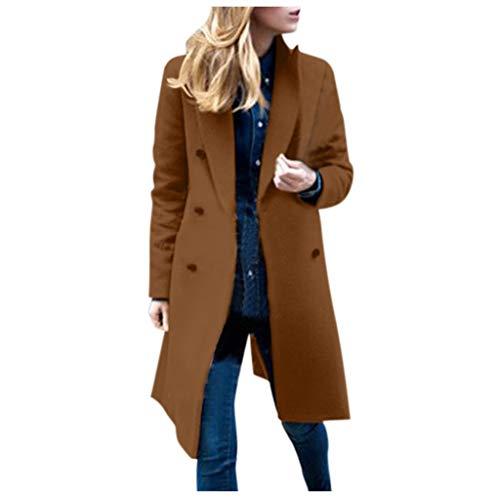 Kobay Casual Manches Longues Femme, Femmes Hiver Revers Manteau en Laine Trench Veste Manteau Long Outwear