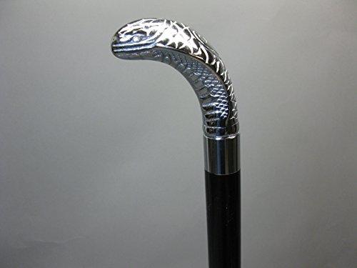 Bâton de marche démontable en bois noble argenté Cobra - 91 cm - M85 - Avec compartiment secret